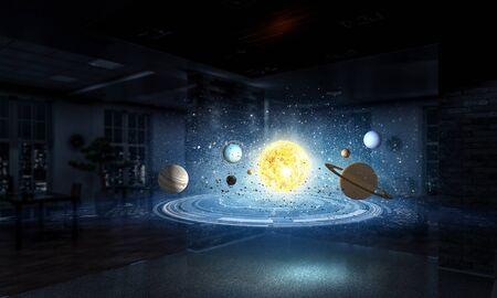 Modern digital solar system in dark office. Mixed media