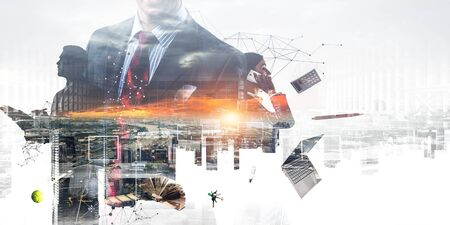 Productivity through technology concept. Mixed media