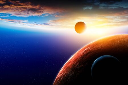 Abstract planets and space texture with sunrise and clouds