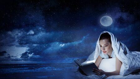 Woman reading book . Mixed media