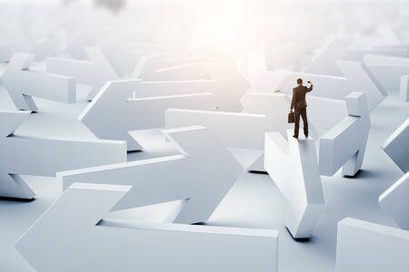 Labyrinth aus Pfeilen. Gemischte Medien