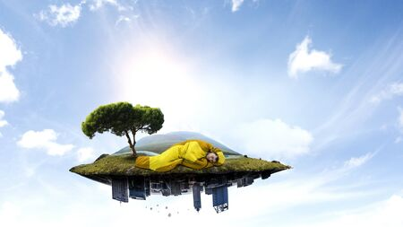 Young traveler in sleeping bag