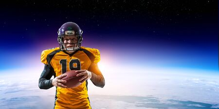 American football player with planet Earth on the background. Mixed media