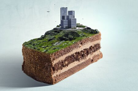 Cityscape on top of cake