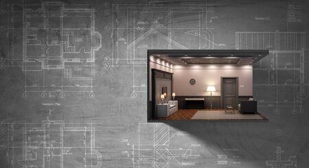 Concept immobilier avec modèle de construction contre le mur. Technique mixte
