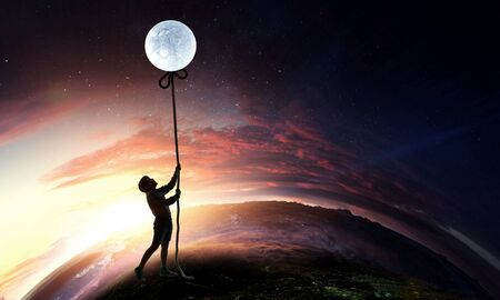 Kid girl catching moon . Mixed media
