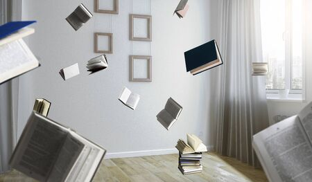 Room full of flying books
