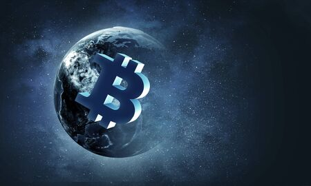 Globe with Bitcoin symbol on blue space texture