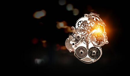 Gears and cogs macro. Mixed media