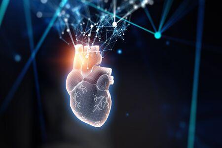 Heart as symbol of innovations in medicine. Mixed media
