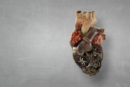 Image of human heart made of metal elements