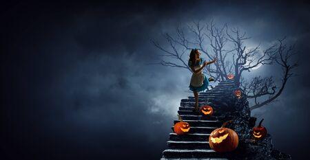 Spooky halloween image . Mixed media