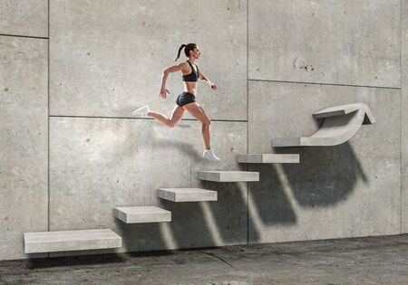 Image of sport woman walking upstairs Banco de Imagens