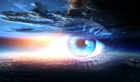 Human eye and space. Standard-Bild