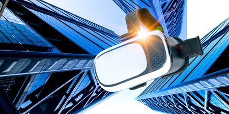 Image of floating virtual reality goggles Standard-Bild