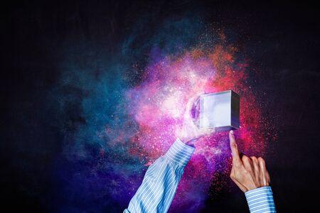 Magic gift box image . Mixed media Standard-Bild