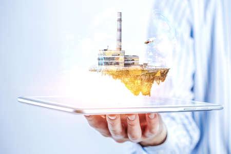 Power generation factory . Mixed media Stockfoto