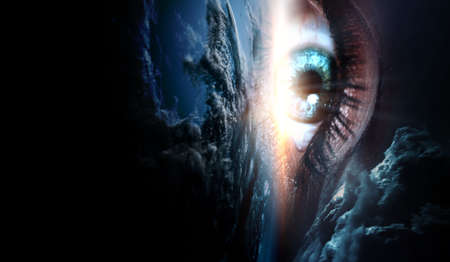 Human eye and space. 版權商用圖片