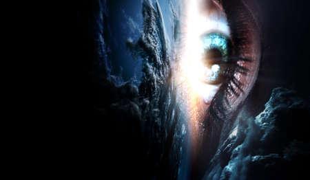 Human eye and space.