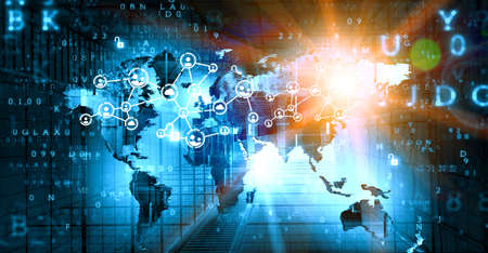 Global network image . Mixed media