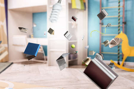 World of books concept . Mixed media