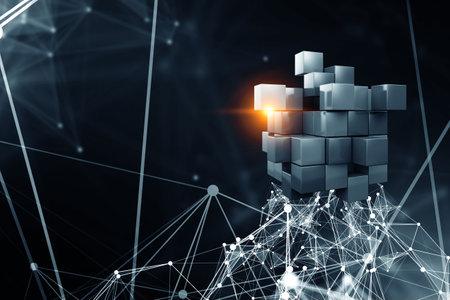 Floating shiny cube network . Mixed media