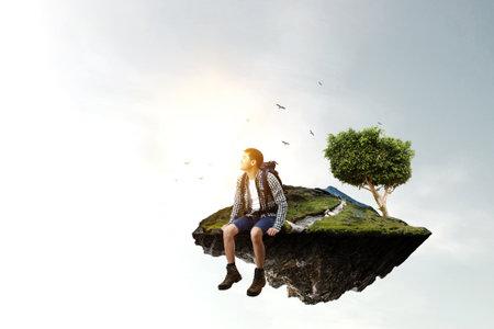 Young traveler exploring the world concept
