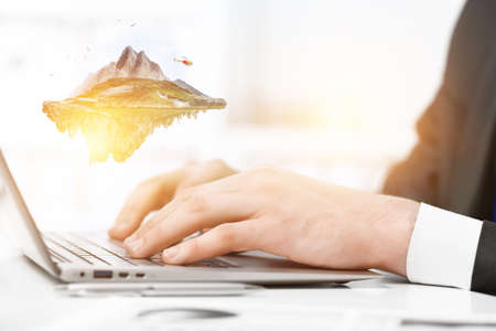 Hands of a businesswoman on keyboard Stock Photo