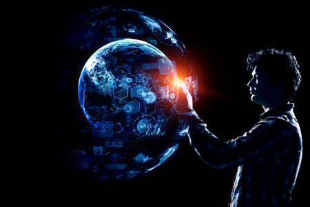 Glowing sphere. Innovation and creativity concept.