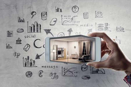 Real estate concept . Mixed media Standard-Bild