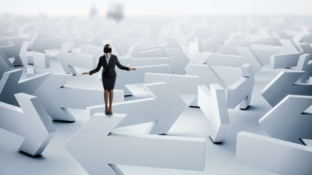 Business woman in virtual reality goggles and maze . Mixed media