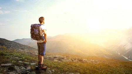 Young traveler exploring the world concept . Mixed media