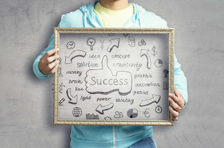 Man holding board with success concept Banque d'images