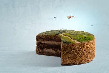 Green landscape on top of cake