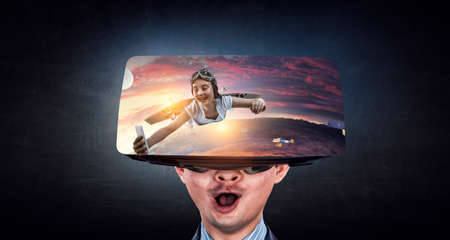 Virtual reality experience. Mixed media Banque d'images