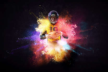 American football player in action. Mixed media