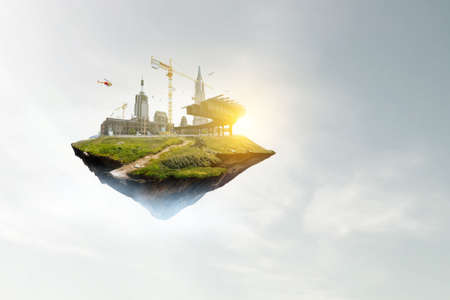 Industrial landscape with chimneys floating