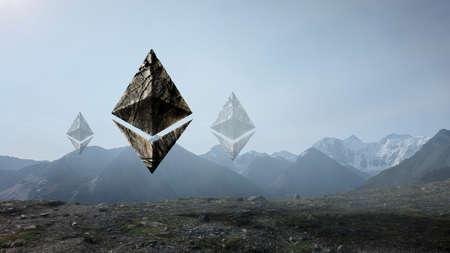Ethereum symbols on landscape background Banque d'images