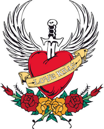 heart and wings: Tattoo Love Kills