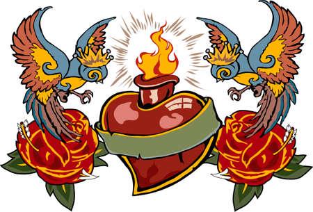 heart pain: Tattoo 02 Illustration