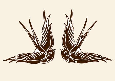 tatouage oiseau: tatouage d'hirondelle 02 Illustration