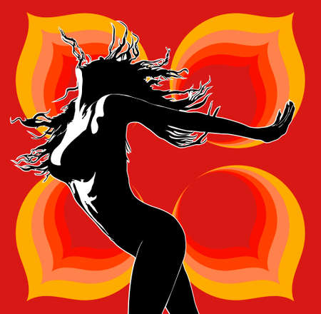 long night: Club dancer 02 red Illustration