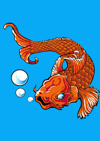 The golden fish tattoo Vector