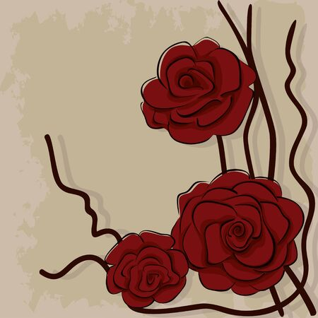 Illustration of dry red roses on stone