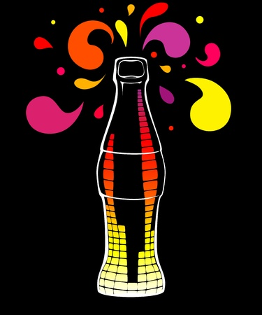 Illustration of glass bottle with equalizer Illustration