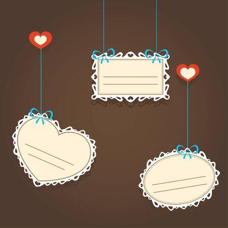 Illustration of lacy valentine frames