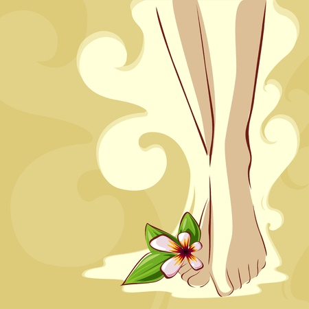 Illustration of spa feet with flower Illustration