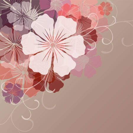 Flower background with transparent flowers for design