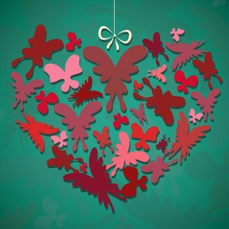 Illustration of heart made of  butterflies Illustration