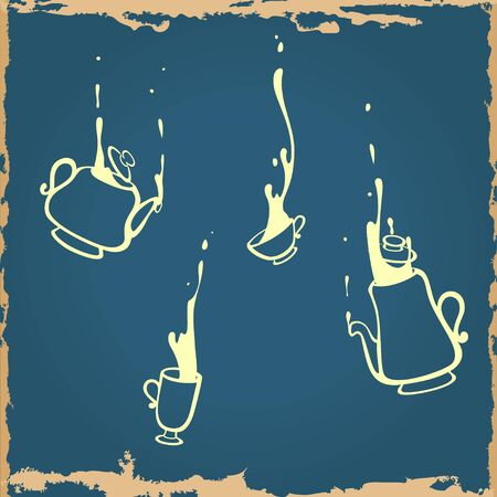Illustration of falling down dishware silhoettes set